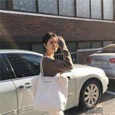 韓版簡約百搭白色大容量帆布包女側背休閒文藝手提袋學生 街頭布衣