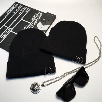 韓版鐵環圈圈毛線帽針織帽保暖雙層套頭帽【黑色】