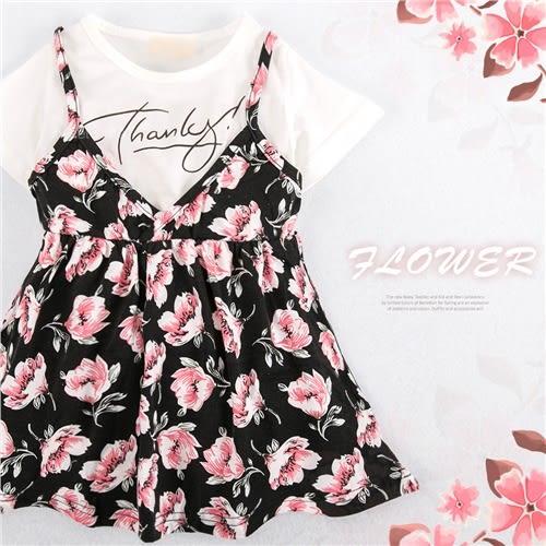 水彩花朵假兩件小洋裝上衣(250761)★水娃娃時尚童裝★
