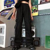 工裝褲法式嘻哈酷帥氣街頭風工裝褲束腳抽繩女褲子大口袋顯瘦高腰寬鬆bf 曼慕衣櫃