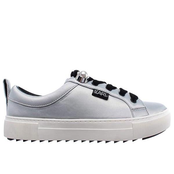 Karl Lagerfeld 卡爾 老佛爺 女鞋  LUXOR珍珠綁帶休閒鞋-銀
