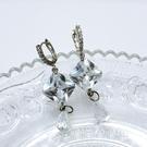 防抗過敏 華麗方塊水滴 長款垂墜耳環-銀 新娘飾品