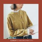 棉麻衫  領袖蕾絲花邊織紋立領襯衫   ...