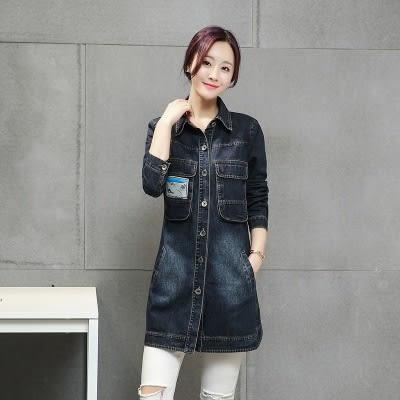 牛仔外套-時尚胸前口袋設計長版女單寧風衣73iu4[時尚巴黎]