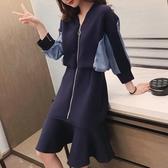 牛仔連身裙 秋裝2020年新款韓版顯瘦V領拼接牛仔連身裙女設計感小眾魚尾裙子 歐歐