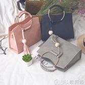 女手提包 圓環手提包包包女韓版小方包個性時尚簡約百搭斜背包單肩包 【快速出貨】