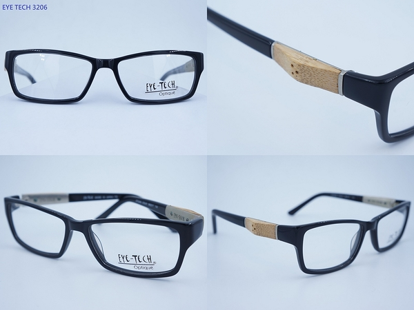 EYE TECH 3206 方框 膠框 眼鏡 日本製 亞洲鼻墊 淑女款 木頭裝飾款