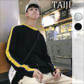 針織毛衣‧袖臂雙色線條設計圓領針織衫毛衣‧二色【NTJM8056】-TAIJI-