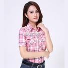 純棉夏季新款短袖格子襯衫女學生韓版寬鬆薄款襯衣大碼外穿防曬衣快速出貨