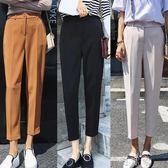 黑色西褲女夏裝韓版九分褲寬鬆職業直筒正裝百搭小西裝褲 町目家