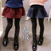童裝女童打底褲秋冬新款兒童加絨加厚假兩件裙褲中大童長褲子-ifashion