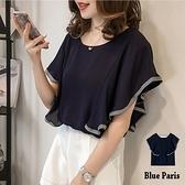 【藍色巴黎】 氣質款拚接緞帶荷葉短袖寬鬆上衣【28366】