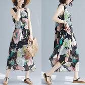 全網批發 大碼女裝短袖洋裝2743大碼連身裙花朵飄逸文雅新款無袖寬松長裙LZ601C朵維思