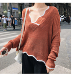針織衫 滾邊 V領 鏤空 罩衫 透視 短版 長袖 針織衫【NDF5318】 icoca