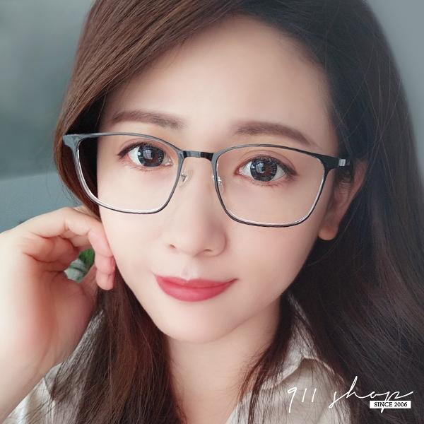 Glows.TR90塑膠鈦透方框鼻墊彈性光學配鏡框眼鏡【p6037】911 SHOP