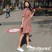襯衫裙 夏季格子polo襯衫連身裙女中長款寬鬆顯瘦小個子復古氣質魚尾裙子 7月熱賣