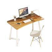 【Incare】簡約圓角弧形鋼木電腦桌書桌(100*50*75cm)淺胡桃+白架
