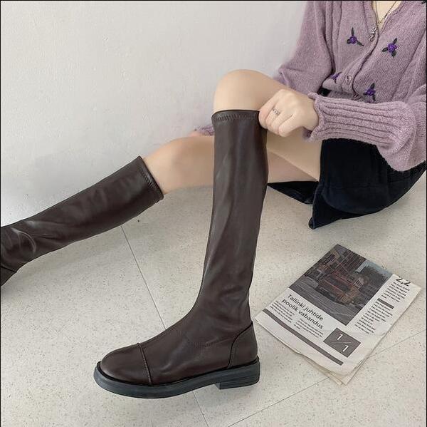 長筒靴 床上軟皮長筒靴女2020年秋冬新款不過膝高筒瘦瘦靴女騎士靴