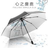 防曬太陽傘女防紫外線遮陽傘折疊晴雨兩用簡約黑膠小清新學生雨傘