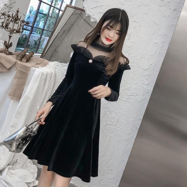 VK旗艦店 韓系復古網紗拼接金絲絨修身顯瘦長袖洋裝