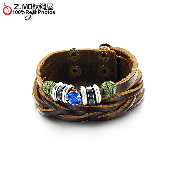 [Z-MO鈦鋼屋]優質牛皮手環/藍寶石設計/精美皮環/情人節送禮手環推薦單件價【CKL778】