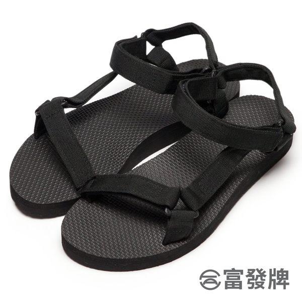 【富發牌】輕盈帆布工字涼鞋-黑  2ML11