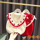 女寶寶V領毛線馬甲女嬰兒童秋裝韓版女童可愛針織背心【淘嘟嘟】