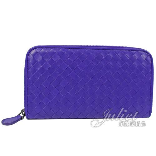 茱麗葉精品【全新現貨】BOTTEGA VENETA 132358 編織羊皮拉鍊長夾.紫