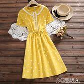 夏季新款通勤文藝風全棉繫帶收腰短袖連身裙子  提拉米蘇