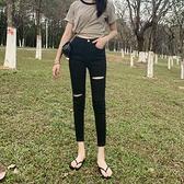 牛仔褲女 2021新款薄款黑色高街破洞牛仔褲女高腰緊身顯瘦小腳褲子ins潮夏【快速出貨】
