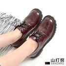 馬丁鞋 圓頭綁帶雕花漆皮休閒鞋- 山打努SANDARU【1077702#46】