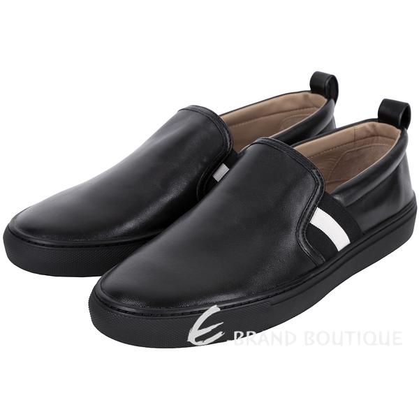 BALLY HERALD 經典織帶拼接小羊皮休閒便鞋(黑色) 1530074-01