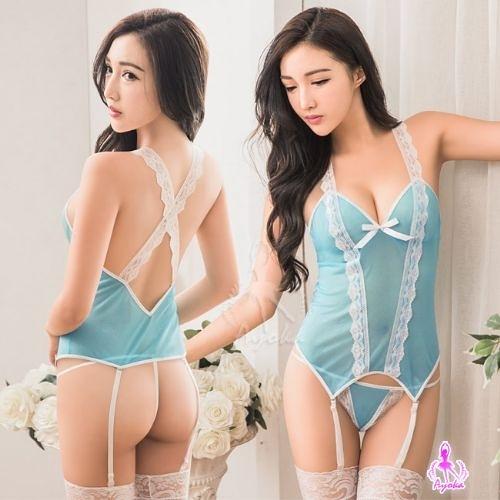 性感馬甲 水藍色透視柔紗馬甲吊襪帶四件組 樂樂