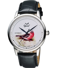Ogival 愛其華 花繪經典彩繪機械腕錶-鳥 1929-24.3GS皮