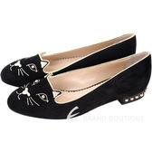Charlotte Olympia Kitty 經典天鵝絨貓咪鉚釘飾樂褔鞋(黑色) 1540728-01