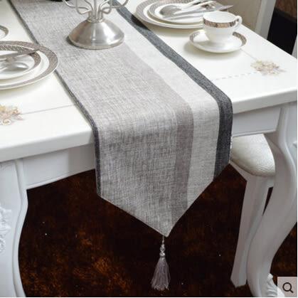 簡約現代簡歐黑雪尼爾銀絲混紡條紋棉麻桌旗茶几旗桌墊