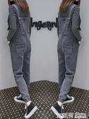 牛仔背帶褲女網紅同款春秋新款韓版寬鬆學生顯瘦小腳九分褲
