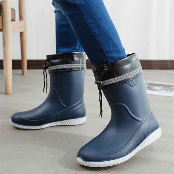 雨鞋 雨鞋男膠鞋中筒防滑防水雨靴水鞋套鞋釣魚鞋洗車工作鞋男膠鞋 瑪麗蘇