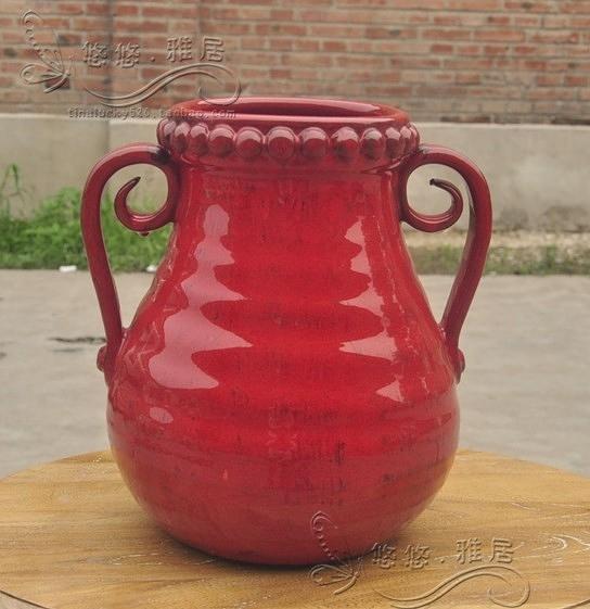 【協貿國際】地中海紅色陶瓷雙耳桌面花瓶(小)