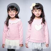 Mini Jule女童 上衣  領口蕾絲/蕾絲愛心滿版蝴蝶結凸紋下擺網紗長版長袖上衣(共2款)