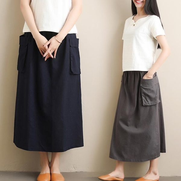 大碼女裝裙子胖妹妹洋氣寬鬆減齡藏肉時髦百搭半身裙2020夏裝新款 快速出貨