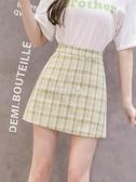 夏季新款防走光a字短裙女學院風綠色jk格子裙雪紡半身包臀裙