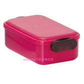 asdfkitty可愛家 日本 山田化學 桃紅色長方型雙扣保鮮盒/便當盒/水果盒/收納盒-日本製