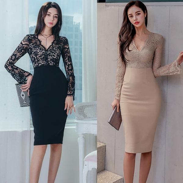 第二件4折 韓國風時尚氣質優雅顯瘦性感蕾絲長袖洋裝