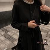 小黑裙 秋冬新款復古赫本小黑裙法式少女長裙氣質收腰顯瘦打底套裝洋裝