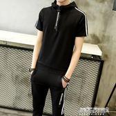 連帽T恤短袖t恤男士套裝 新款九分褲學生兩件套韓版 體恤衣服   傑克型男館