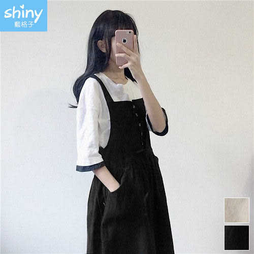 【V2402】shiny藍格子-小清新.排釦抽繩收腰側雙口袋吊帶裙