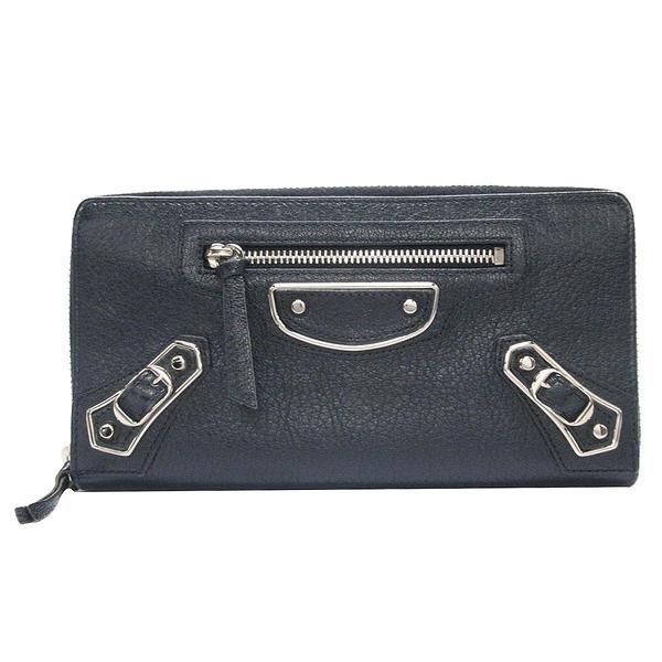 BALENCIAGA 巴黎世家 深藍色山羊皮銀釦ㄇ字型拉鍊長夾Zip Around Wallet【BRAND OFF】