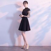 黑色派對小禮服女2019新款短款聚會連身裙生日晚禮服洋裝名媛夏季Mandyc