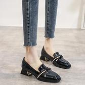 小皮鞋 單鞋女鞋2021新款夏季秋百搭中跟粗跟黑色一腳蹬樂福英倫風小皮鞋 韓國時尚週